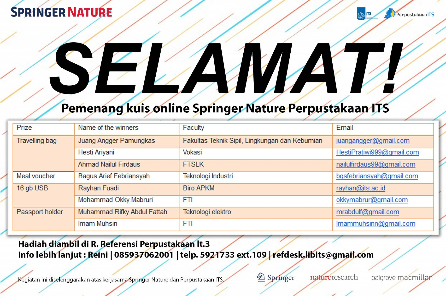 Pemenang Kuis Online Springer Nature Perpustakaan ITS ( Tahap I)